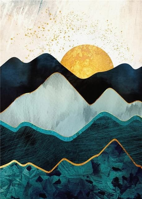 Photo of Nordic Abstract Mountain Landscape Poster Home Decor Canvas Painting Wall Art Print Sun Scenery Picture for Living Room Decor – 13x18cm no frame / I