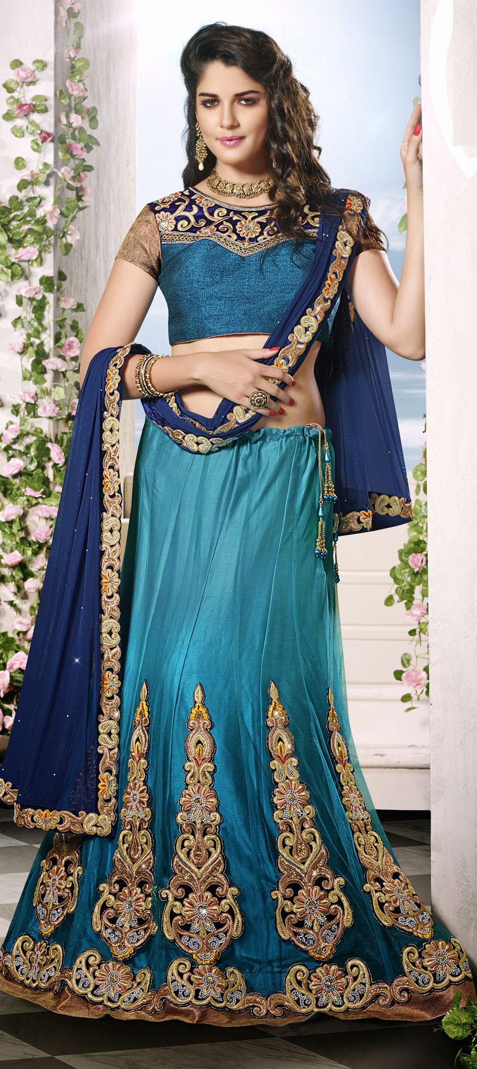149273: Blue color family Bollywood Lehenga. | Indian Lovely Lehenga ...