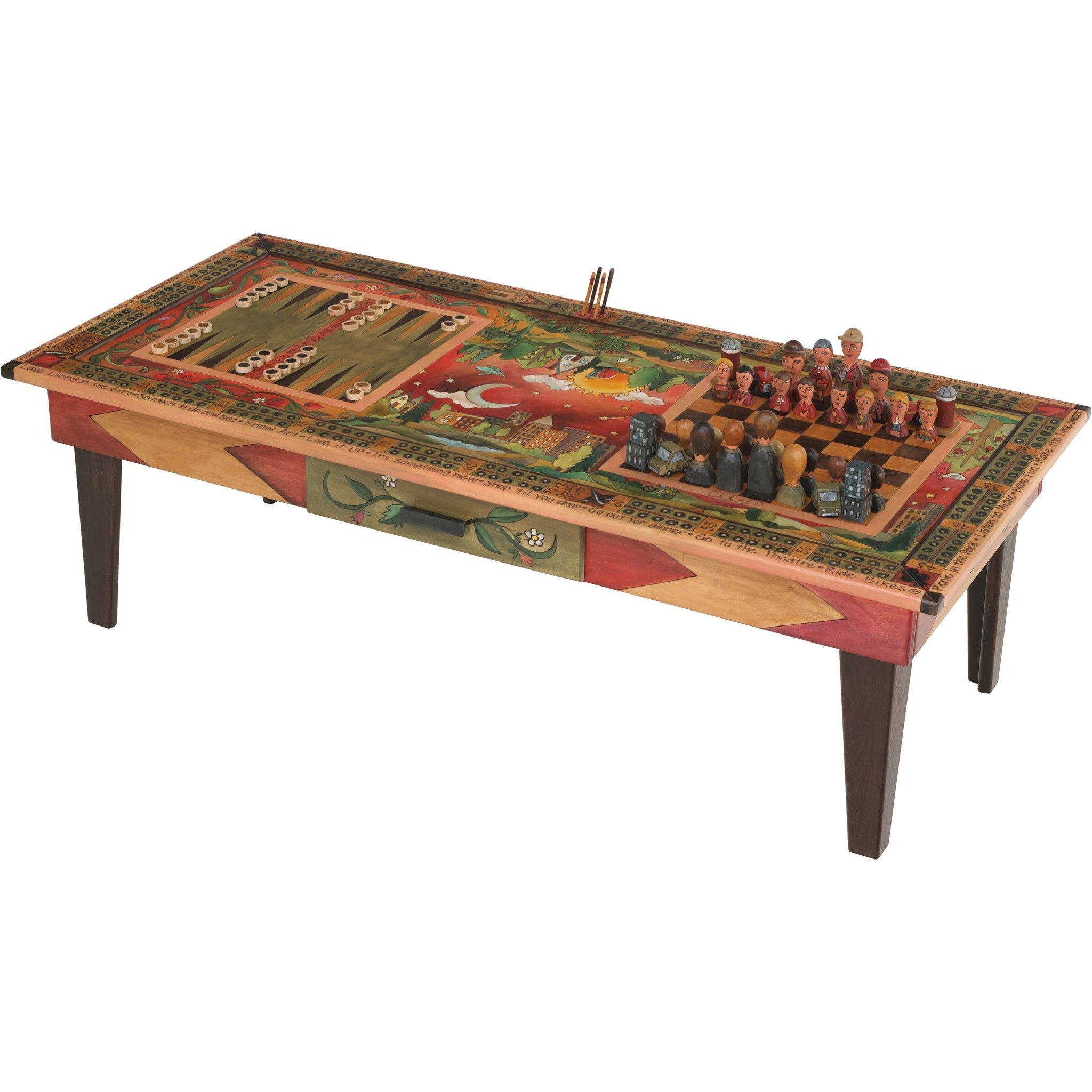 Sticks Urban Game Table with Milled Legs and Country vs City