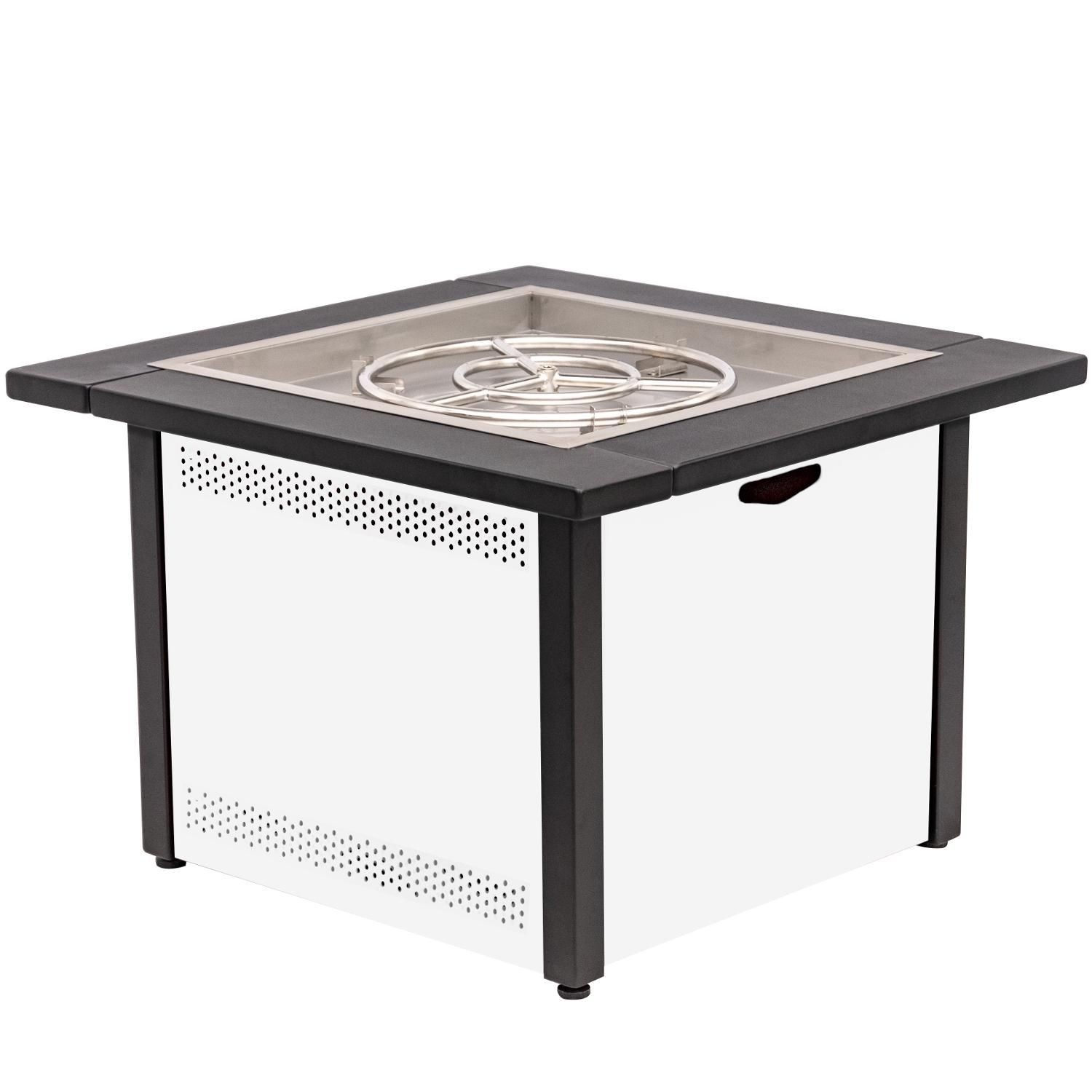 Lakeview 36 Square Propane Gas Fire Pit Table W 24 Pan And Burner Textured White Ch 36fp A Lp Tw Fire Pit Table Gas Fire Pit Table Natural Gas Fire Pit
