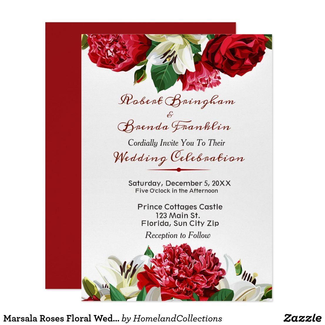 Marsala Roses Floral Wedding Invitations | Merry Christmas, Happy ...