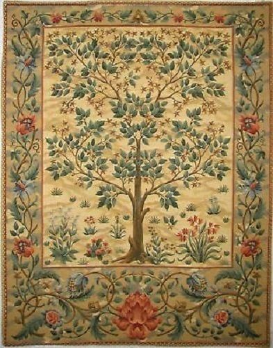 "37"" Tree Of Life Beige Wm Morris Tapestry Wall Hanging In Home"