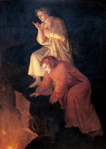Rafael Flores (1832-1886), Dante y Virgilio visitando el Infierno ...