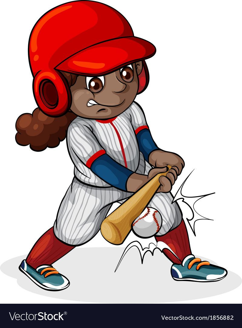 A Black Girl Playing Baseball Vector Image On Vectorstock Baseball Vector Firefighter Logo Cartoon People