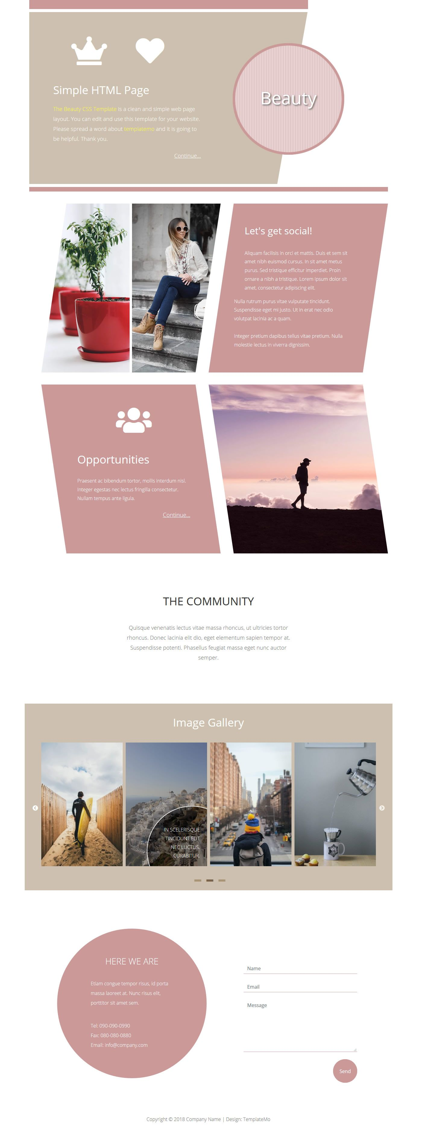 Beauty Is A Stylish One Page Template With Circles And Leaning Shapes This Is Minimal And Mobile Rea Css Templates Beautiful Web Design Html And Css Templates