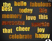 Gold Textured Life Sentiments, Set/15. Gold foil, sparkle and paint add light and fun to everyday words. PNG Files. Scrapbooking, Invites.