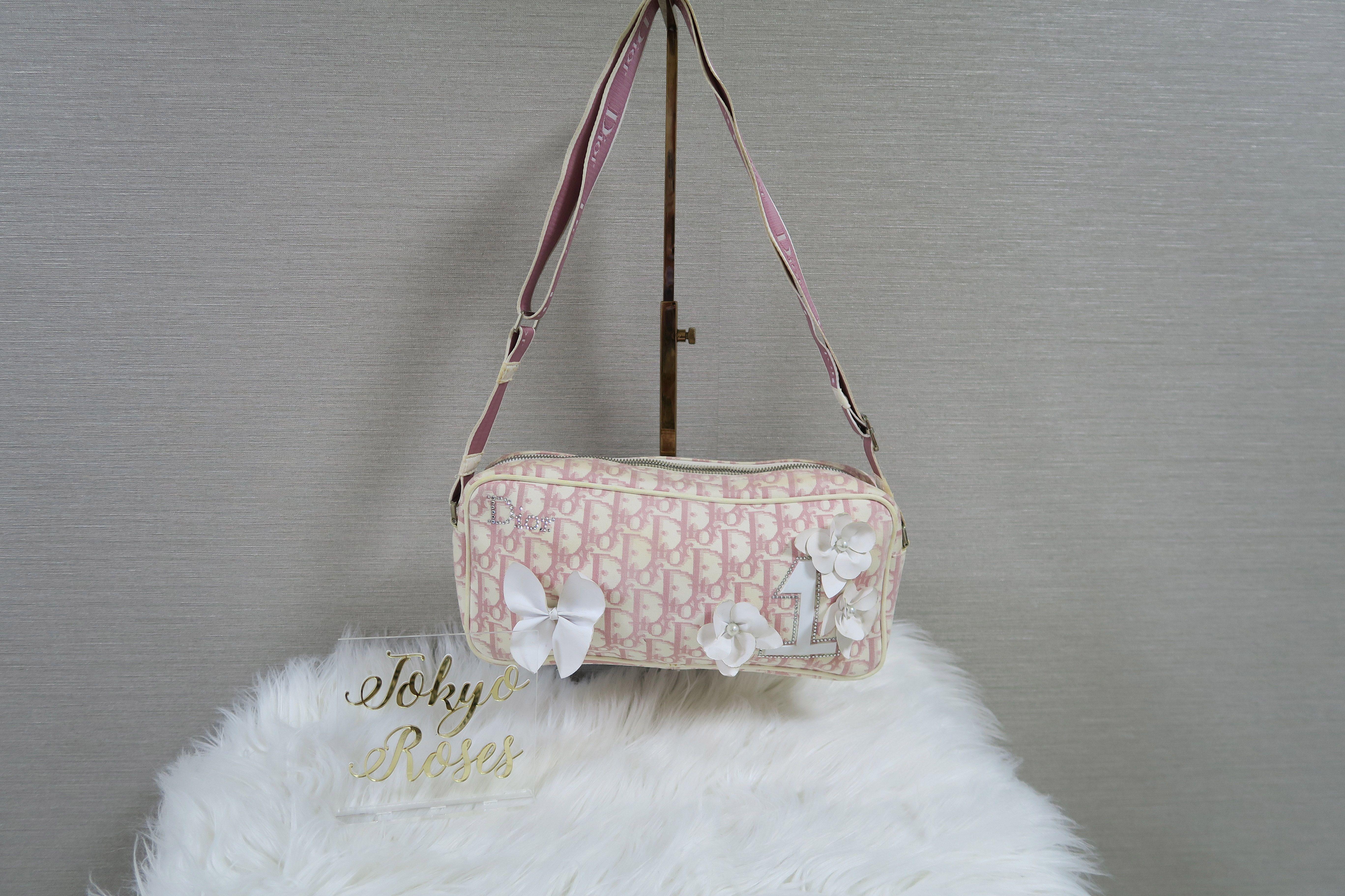 9ea63b91be79 Christian Dior Pink Girly Cross Body Handbag Trotter Logo Monogram Print  Floral