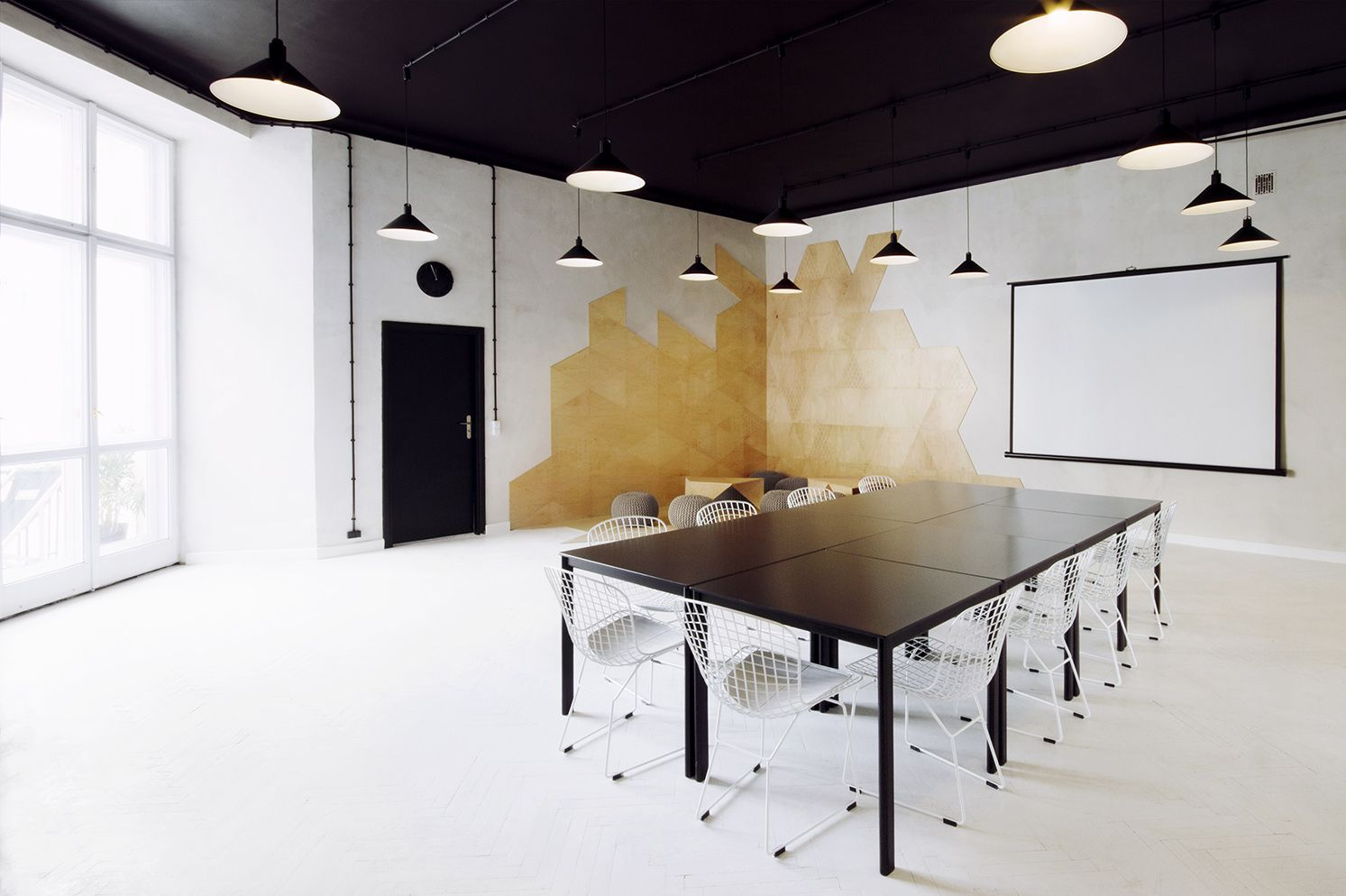 Conference Room Design Ideas small conference room design ideas executive conference room floor designs Interior Contemporary Meeting Room Design Ideas Pendant Lamp Brown Table Chairs White Flooring Glass Window