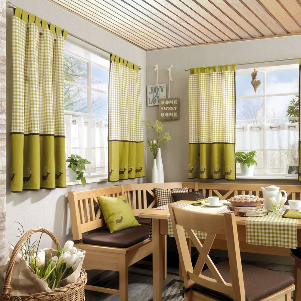 Hochwertiger Landhaus Deko In Stilechten Hirsch Design Und Wohnlich Schicker Farbgebung 160 Cm Breit Vorhange Gardinen Vorhange Haus Deko