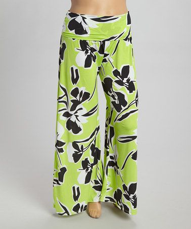 92d9ec16aaa8f Love this Green   Black Floral Palazzo Pants - Plus by CANARI on  zulily!   zulilyfinds