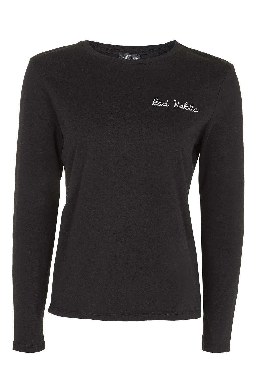 3c72afdde5f2 PETITE Bad Habits Slogan Long Sleeve T-Shirt