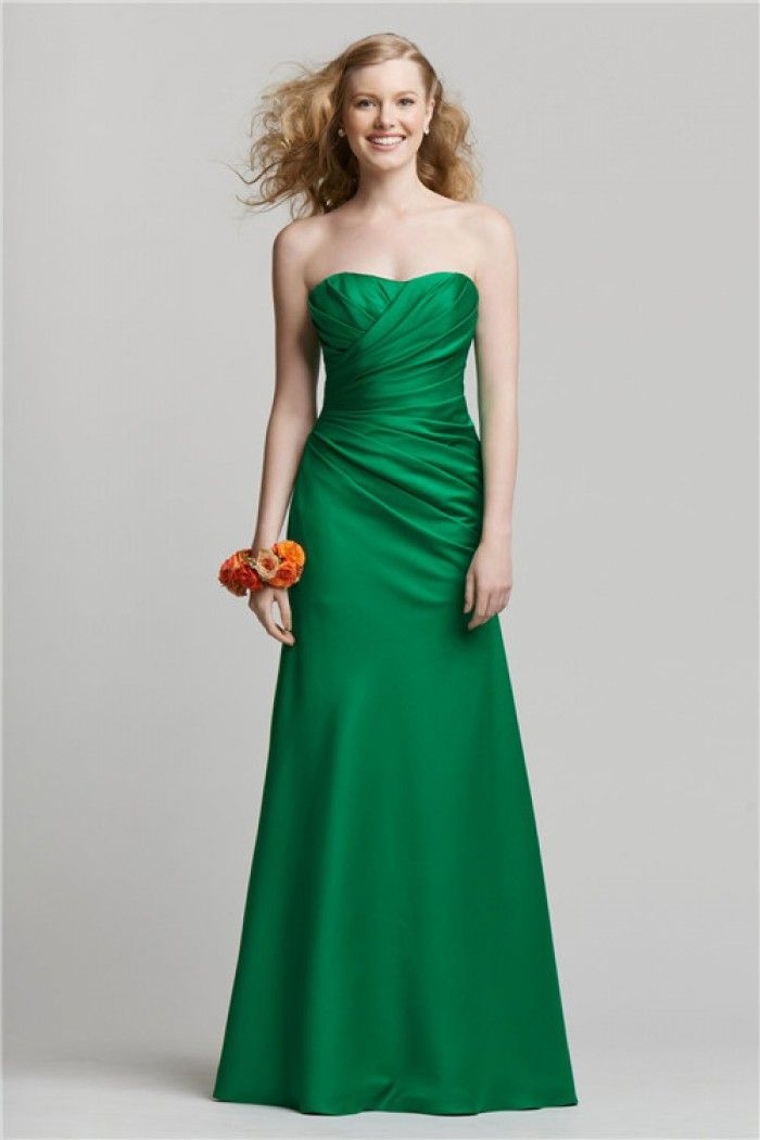 Ed Strapless Long Emerald Green Silk Satin Ruched Bridesmaid Dress