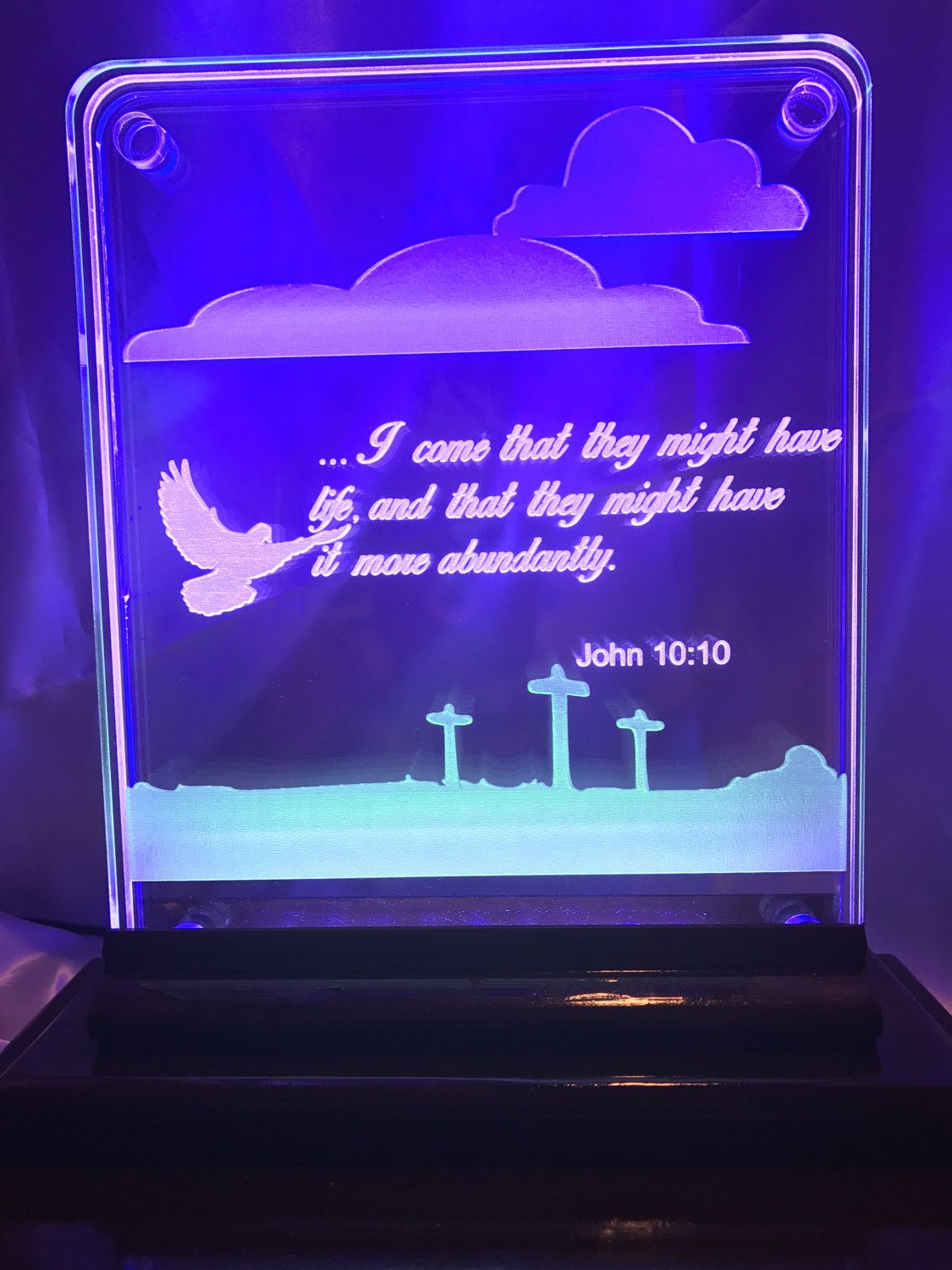 8x10 Laser Engraved 3 Layer, 3 color acrylic sign | edge lit