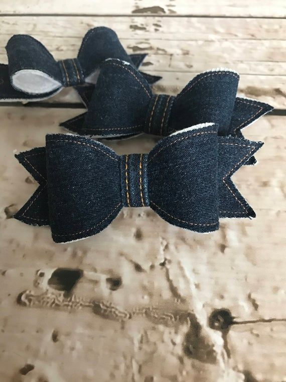 Bows are made with denim stitched to a felt backing which adds extra shape and softness. Each bow is then adhered