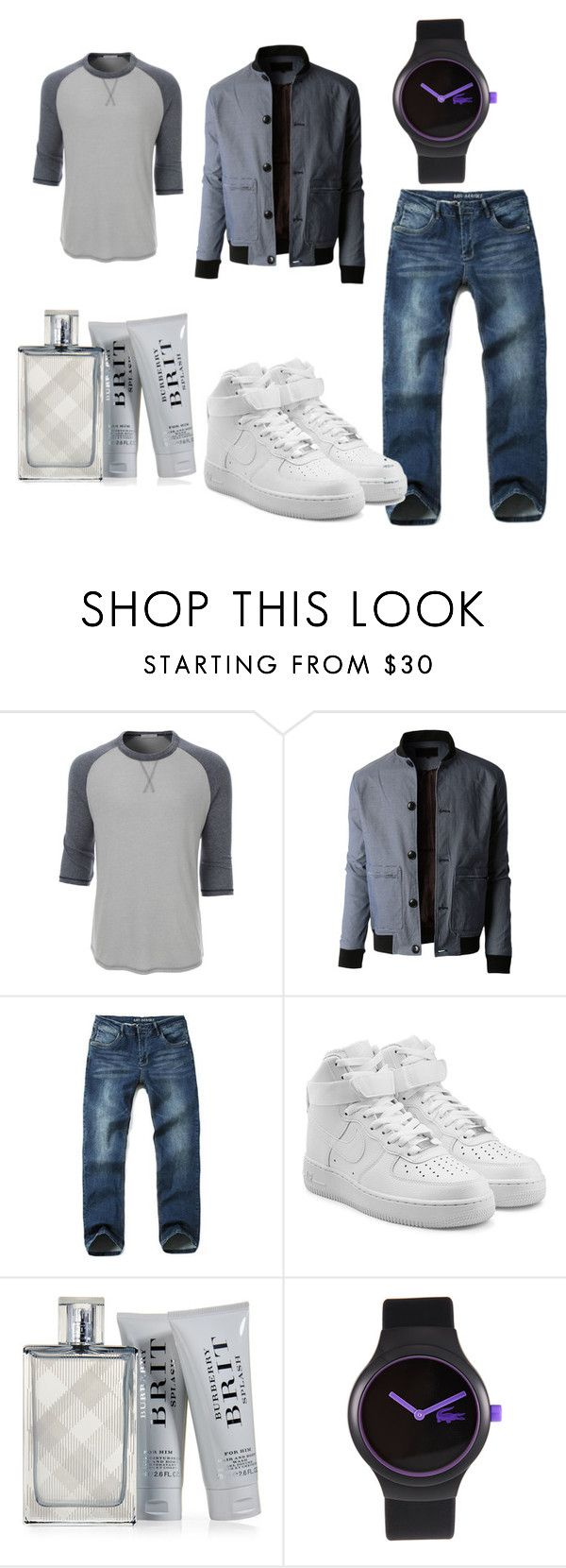 """""""if weather is cold"""" by katrin-ovo ❤ liked on Polyvore featuring LE3NO, NIKE, Burberry, Lacoste, men's fashion and menswear"""