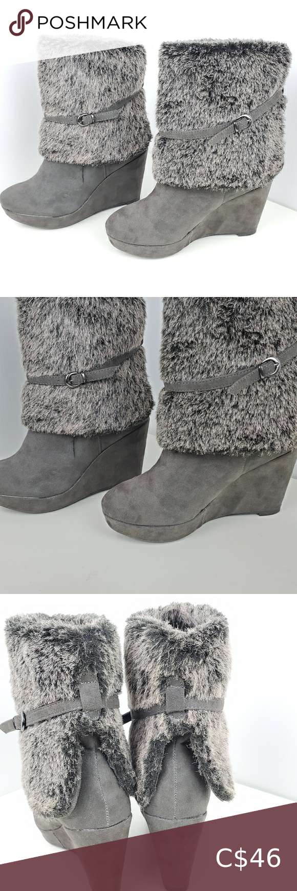Call it Spring ankle boot w fur size 6 wedge grey