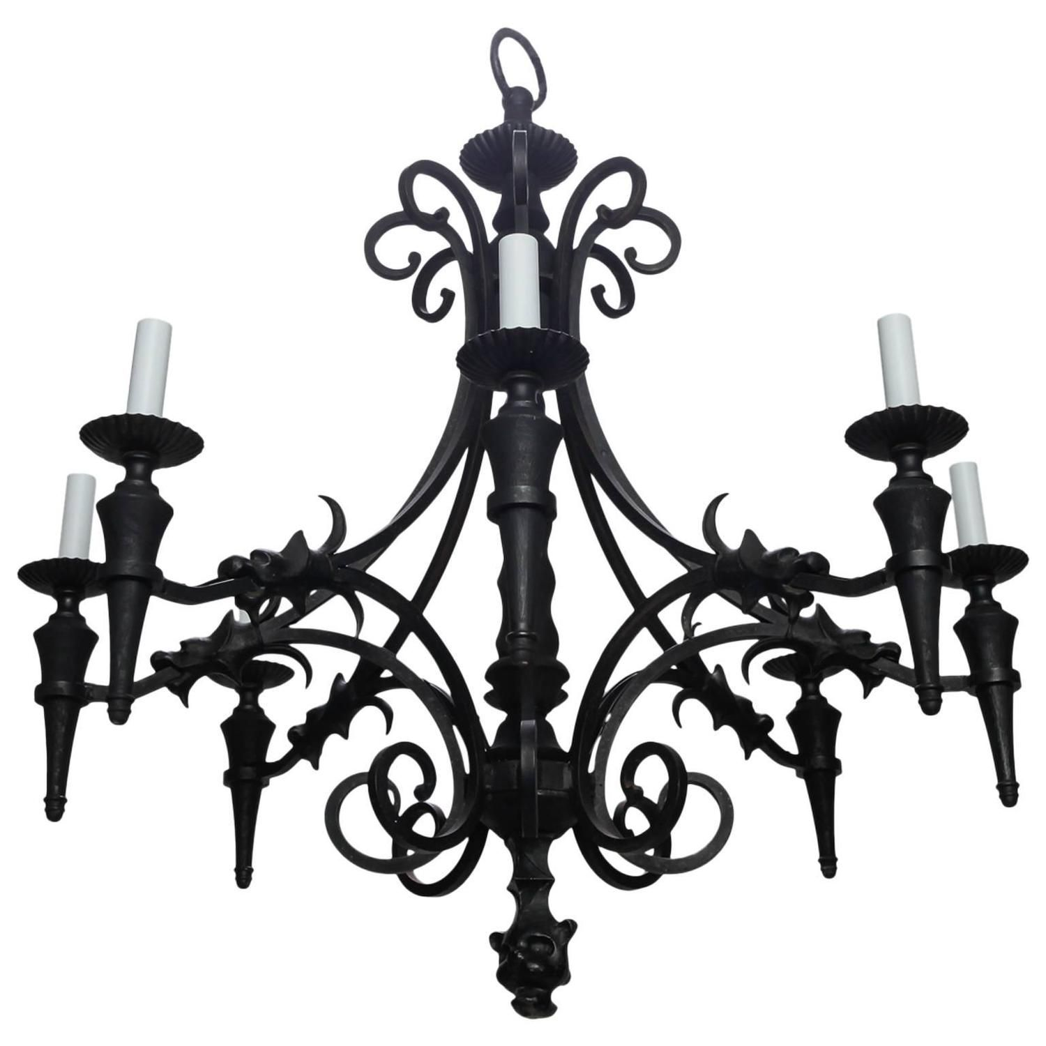 Vintage Gothic Style Spanish Iron and Wood Eight Arm Chandelier