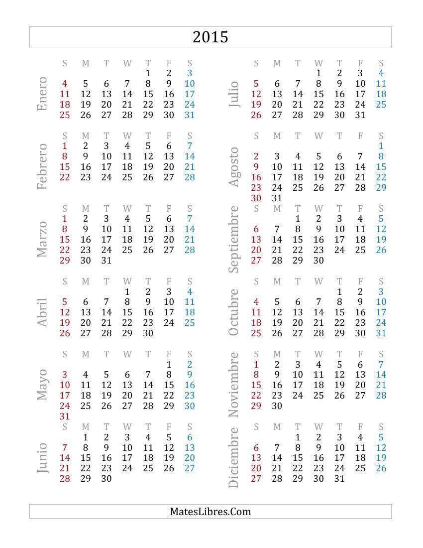 simple calendario vertical de 2015 simple vertical calendar 2015