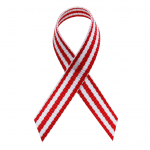 red and white pinstripes fabric awareness ribbons in bulk for aplastic anemia, deep vein thrombosis, head and neck cancer, oral cancer, pulmonary embolism, squamous cell carcinoma