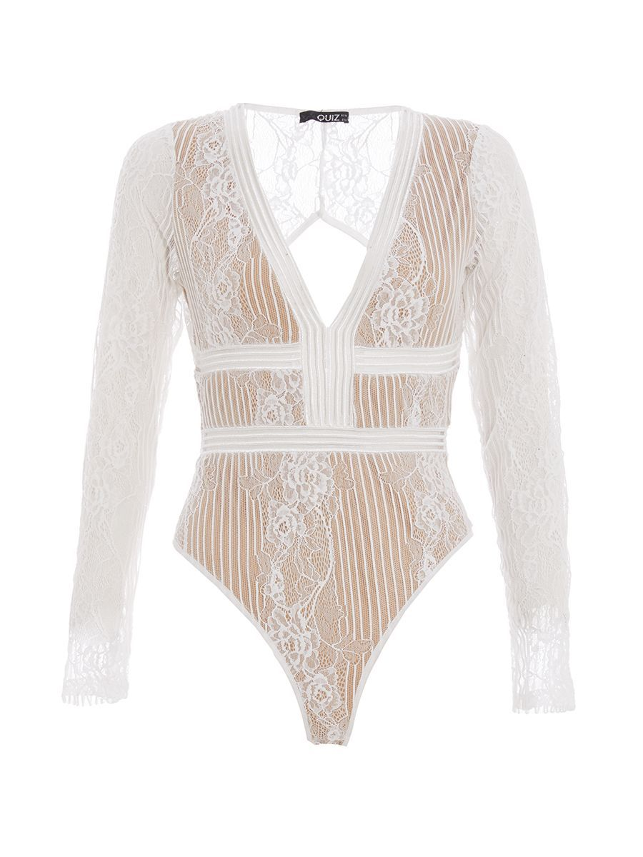 a8dc3de798 TOWIE Cream Lace Long Sleeve Bodysuit - Quiz Clothing