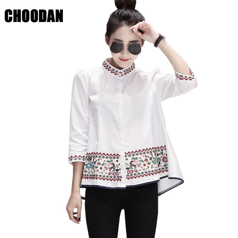 Blouse Shirt Floral Embroidery Half Sleeve Summer Top 2018 Fashion Wweet  Peter Pan Collar Women Blouses
