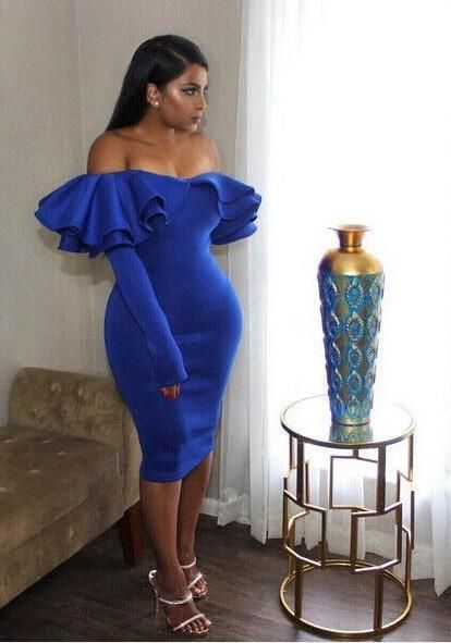 9b3a734522 Blue Zipper Cascading Double Ruffle Off Shoulder Backless Long Sleeve Party  Midi Dress