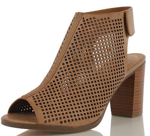 Women's Roadway Faux Leather Peep Toe Laser Cut Out Slingback Stacked Heels