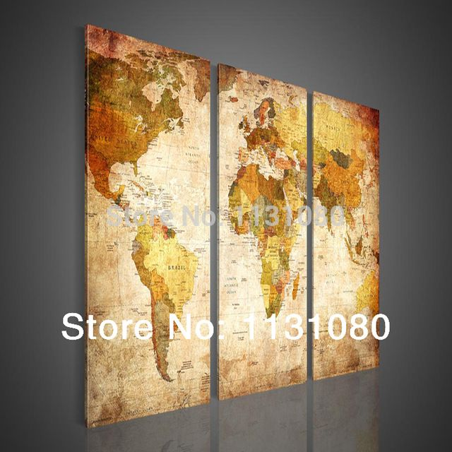 NO FRAME CANVAS ONLY 3 pieces WORLD MAP TRADITONAL modern wall ...