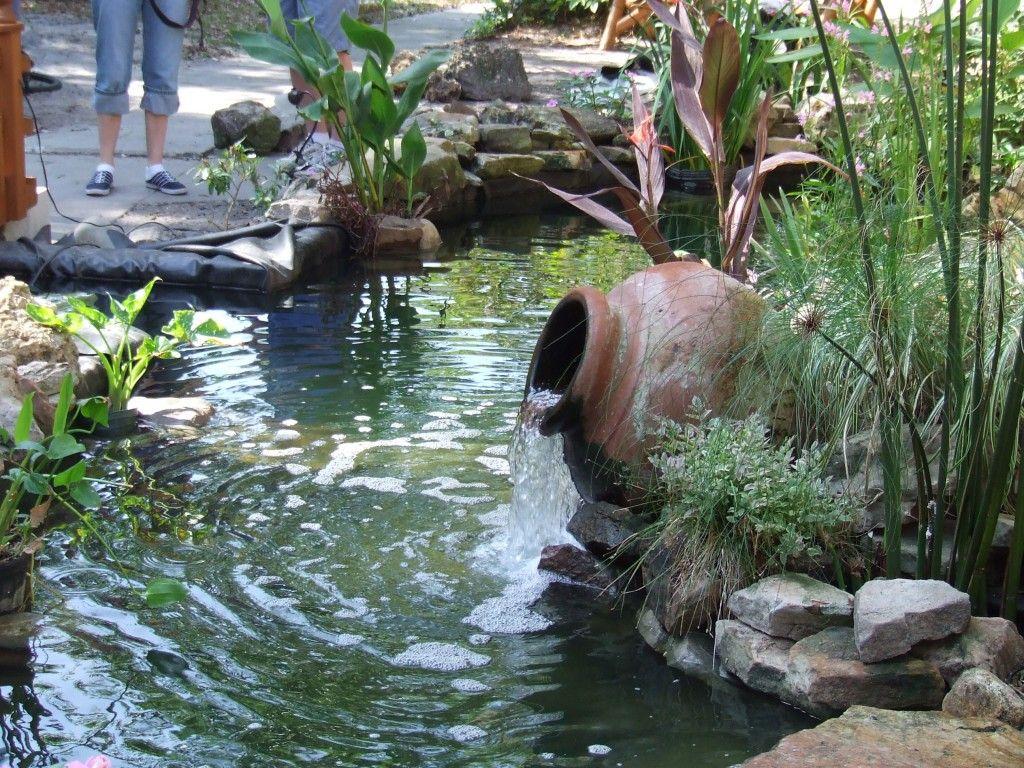 Overflowing Pot On Koi Pond Ponds Backyard Water Garden
