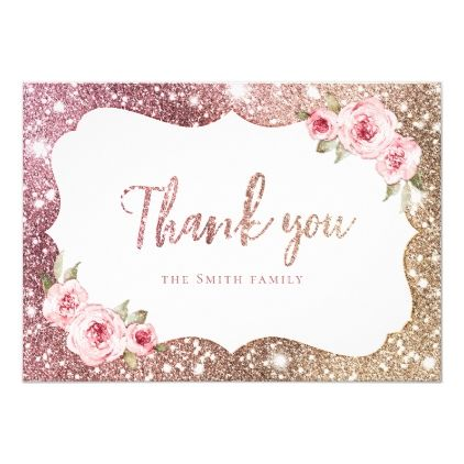 Sparkle rose gold glitter and floral thank you invitation | Zazzle.com