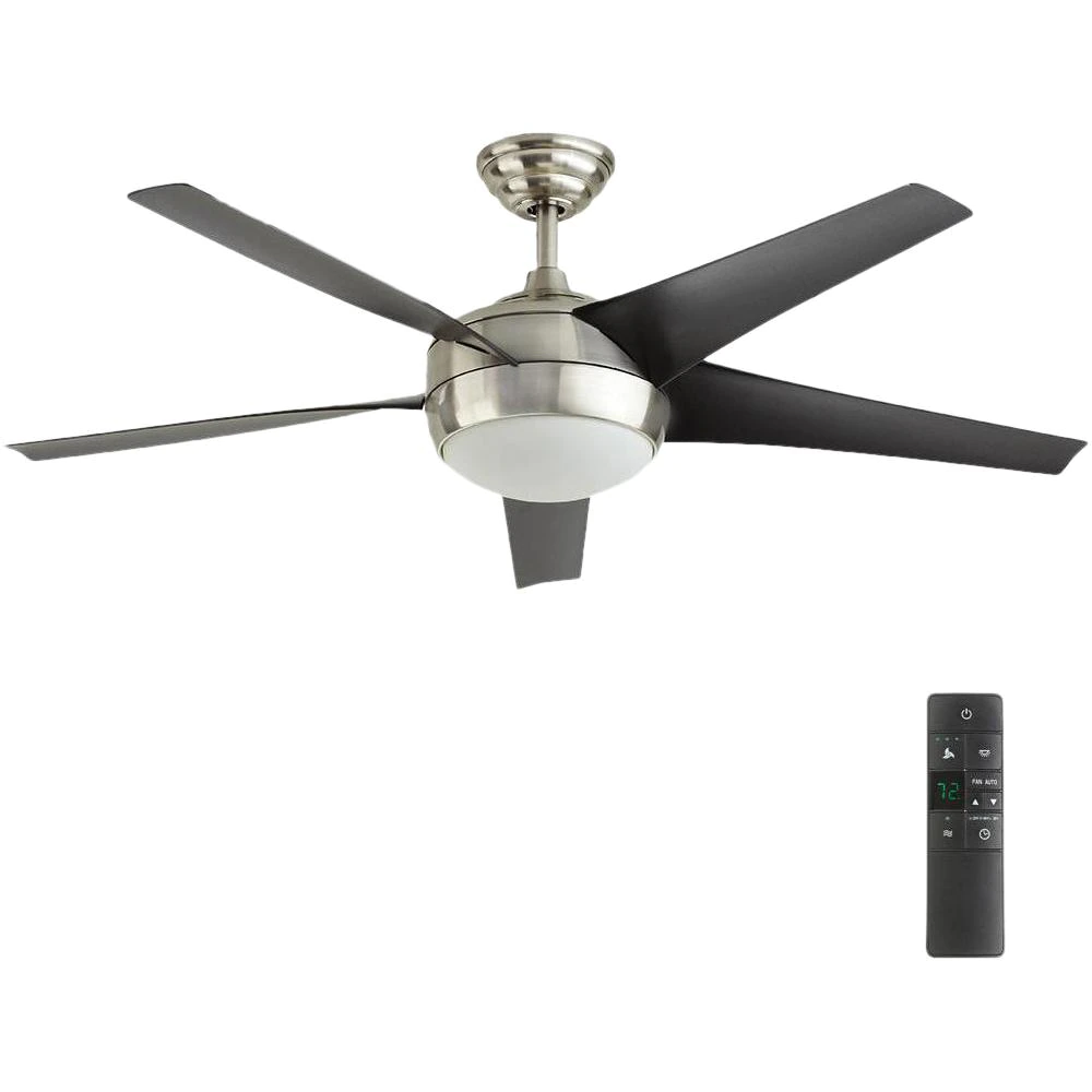 Home Decorators Collection Windward Iv 52 In Led Indoor Brushed Nickel Ceiling Fan With Light Kit And Remote Control 26663 The Home Depot In 2021 Ceiling Fan With Light Fan Light