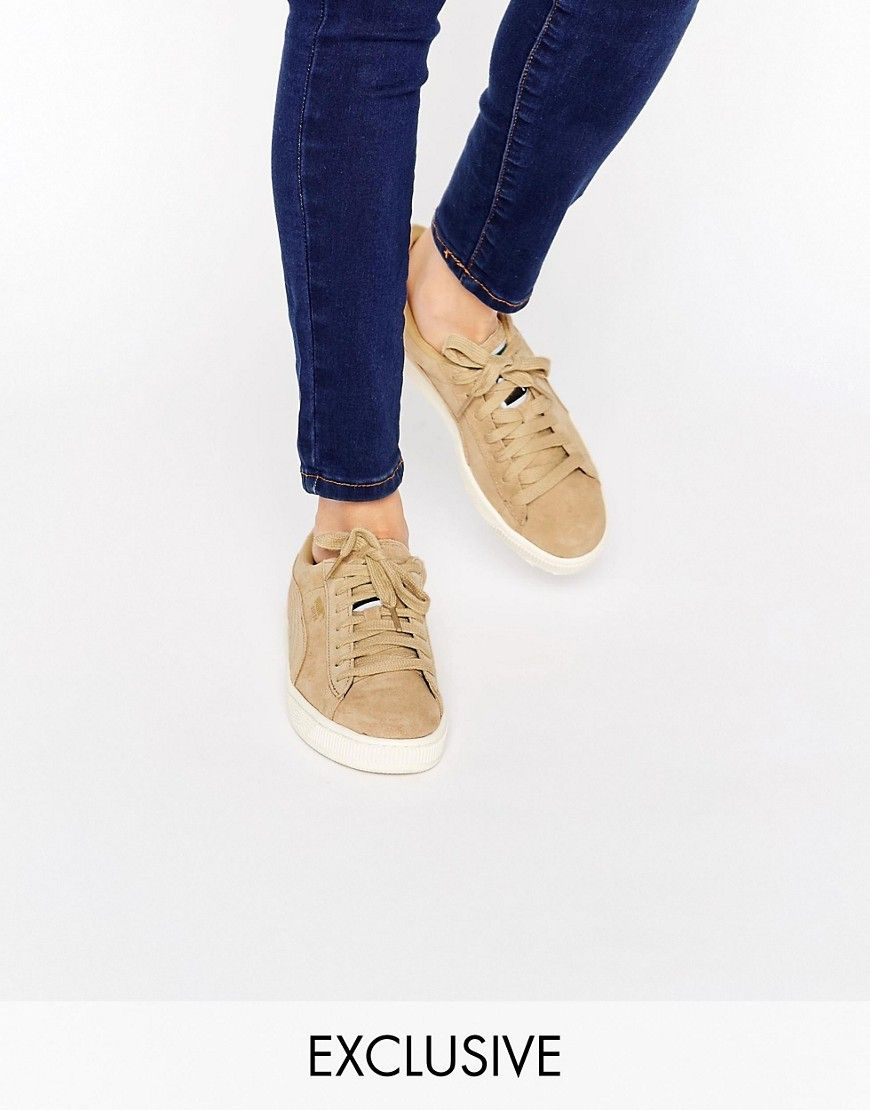 Puma Exclusive To ASOS Suede Basket Trainers In Sand