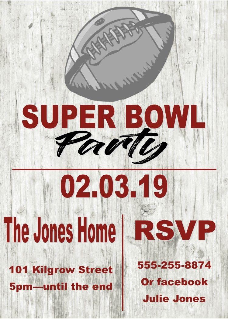 Football On Wood Super Bowl Party Invitations Super Bowl Party Invitations Party Invite Template Football Ticket Invitations