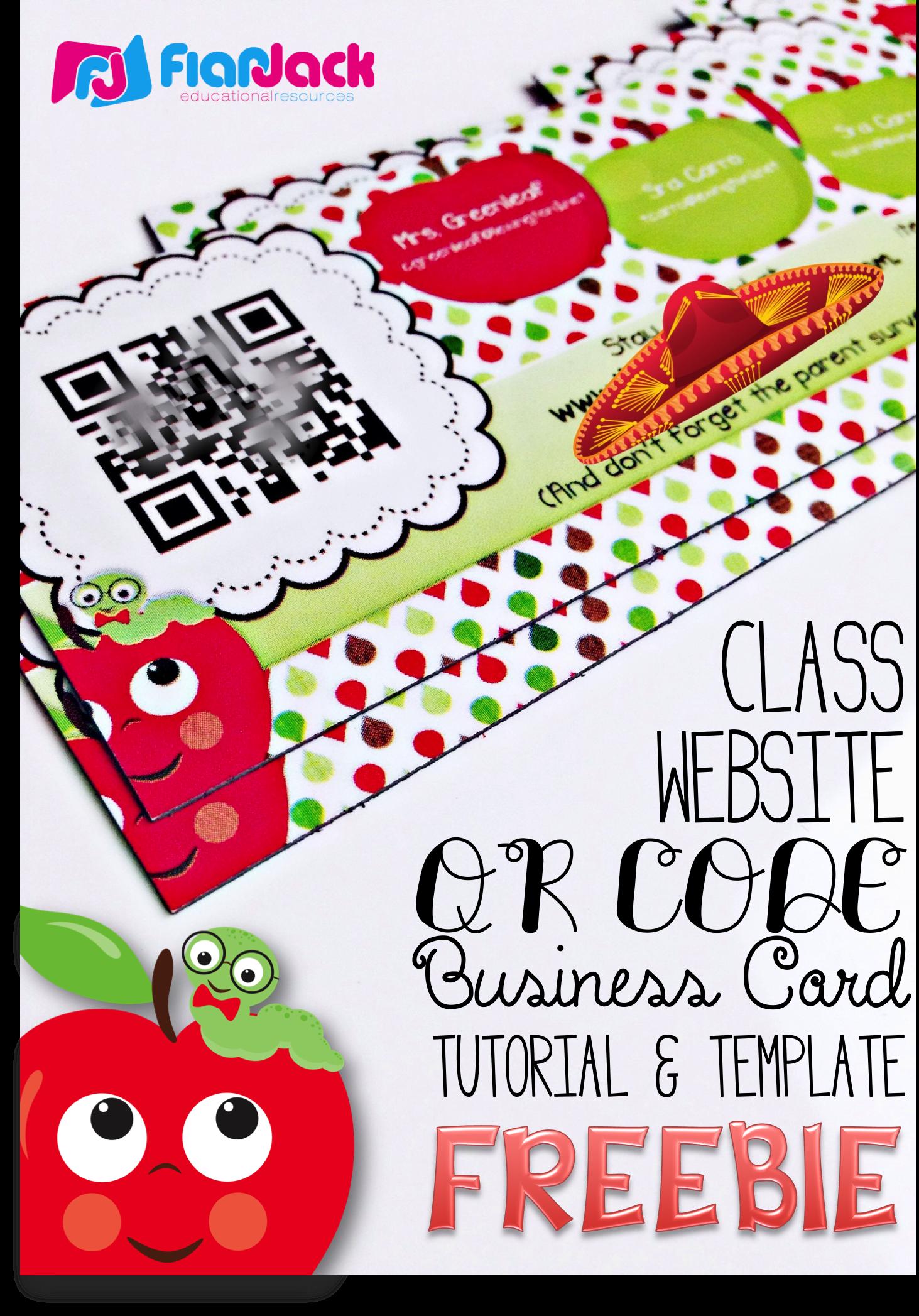Class Website QR Code Business Cards Template FREEBIE - Create your ...