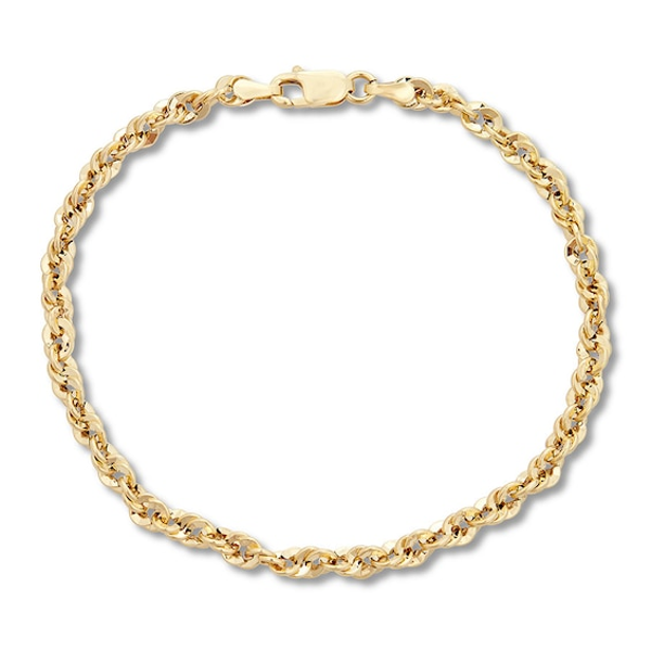 Rope Chain Bracelet 10k Yellow Gold 7 5 Kay Chain Bracelet Mens Gold Bracelets Gold