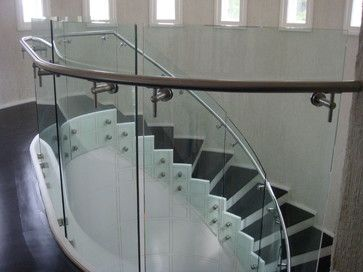 Curve Glass Railing   Modern   Staircase   Los Angeles   Stair Service Inc.