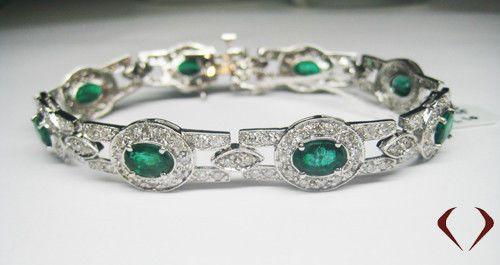 10 55CTW Emerald and Diamond Bracelet F VS 14K White Gold