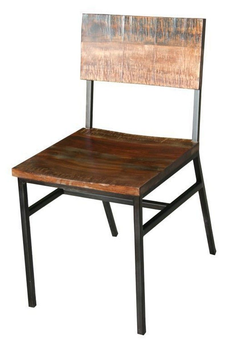 Industrial Iron And Wood Dining Chair | Tres Amigos World Imports