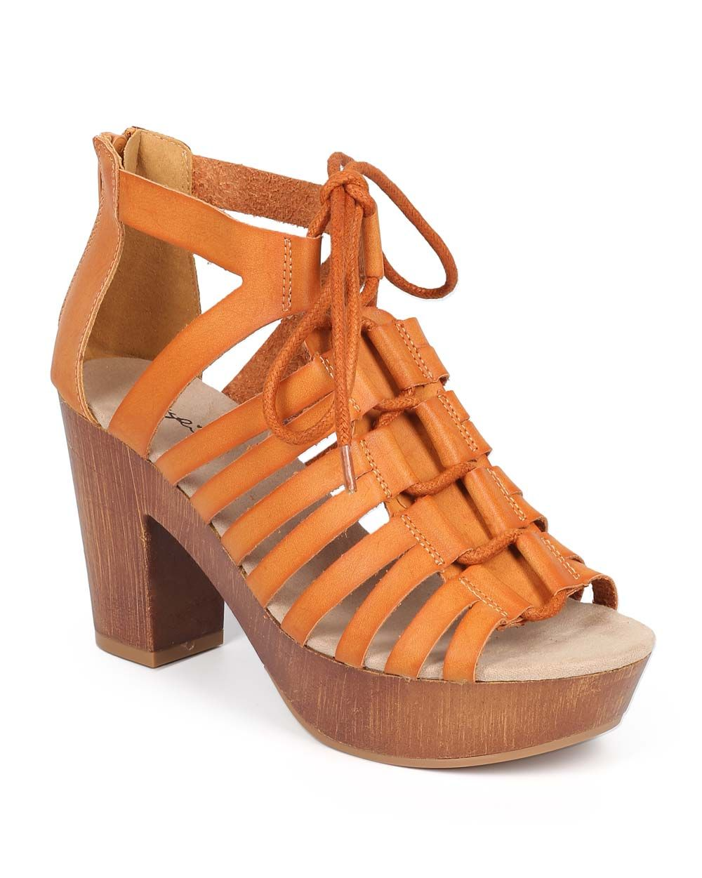237d4cce5fdd New-Women-Qupid-Lorna-23-Leatherette-Gilly-Tie-Chunky-Heel-Gladiator-Sandal -Size