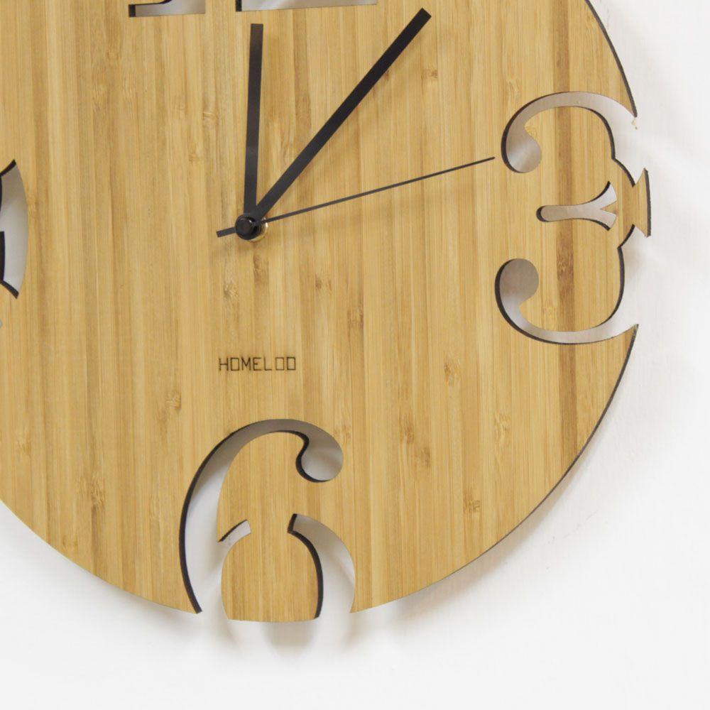 LOO Bamboo Wall Clock u2013 Numbers Cut