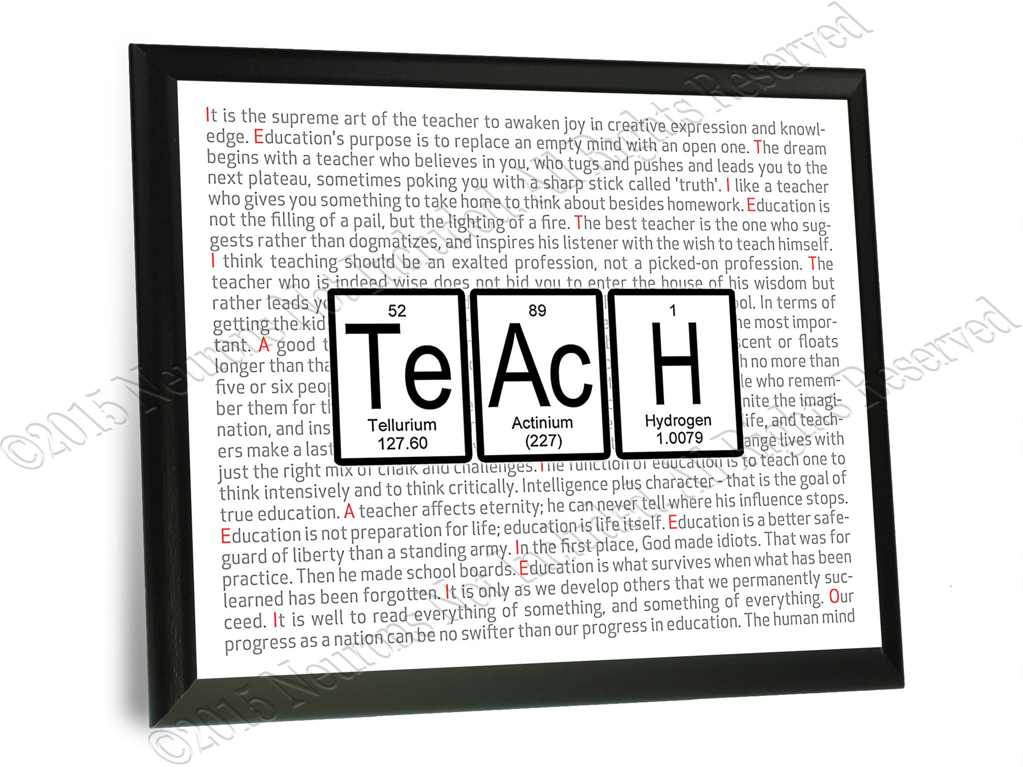 Teach Periodic Table Of Elements Typography Wall Plaque Periodic