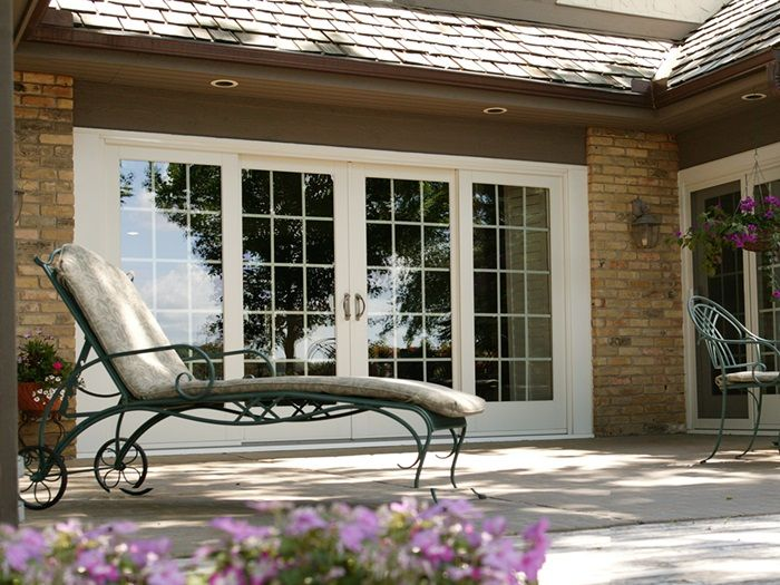 Exterior view of frenchwood gliding patio door that opens from the french patio doors sliding french doors renewal by andersen planetlyrics Choice Image