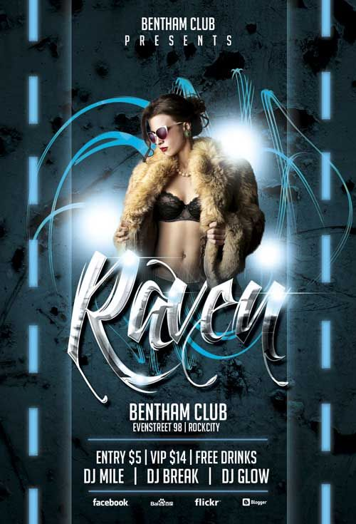 Free Raven Club Party Flyer Template Club Flyers Pinterest
