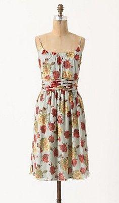 Cute cut...New Anthropologie ROSE & HORTENSIA DRESS Anna Sui Sz 8 M Mint Summer Silk Dress
