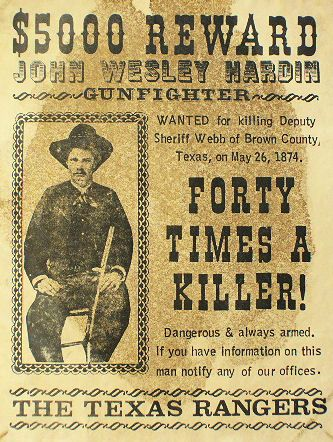 John Wesley Hardin REWARD Poster at Circle KB.com All Western Cowboy ...
