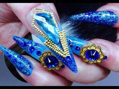 Swarovski Wing Fancy 18x7 5mm Aquamarine Lattice Crystal Acrylic Nails Acrylic Nails Nails Toes Designs