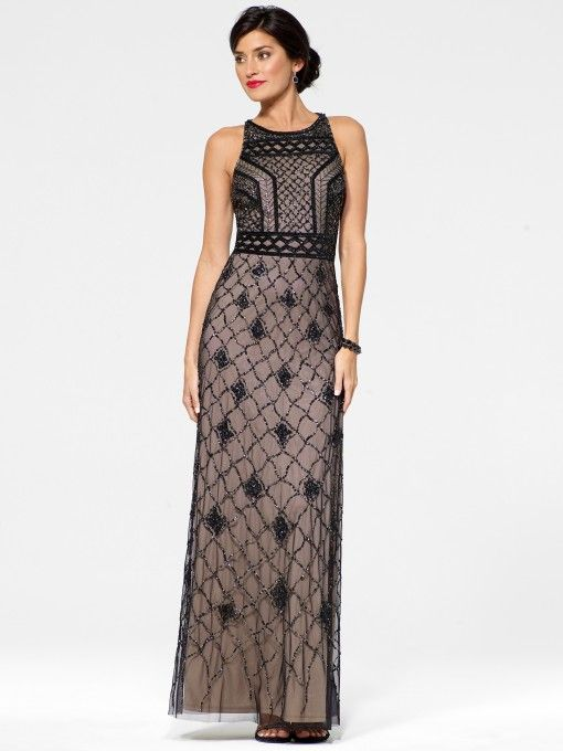 Black Floral Deco Gown with Bead Detail