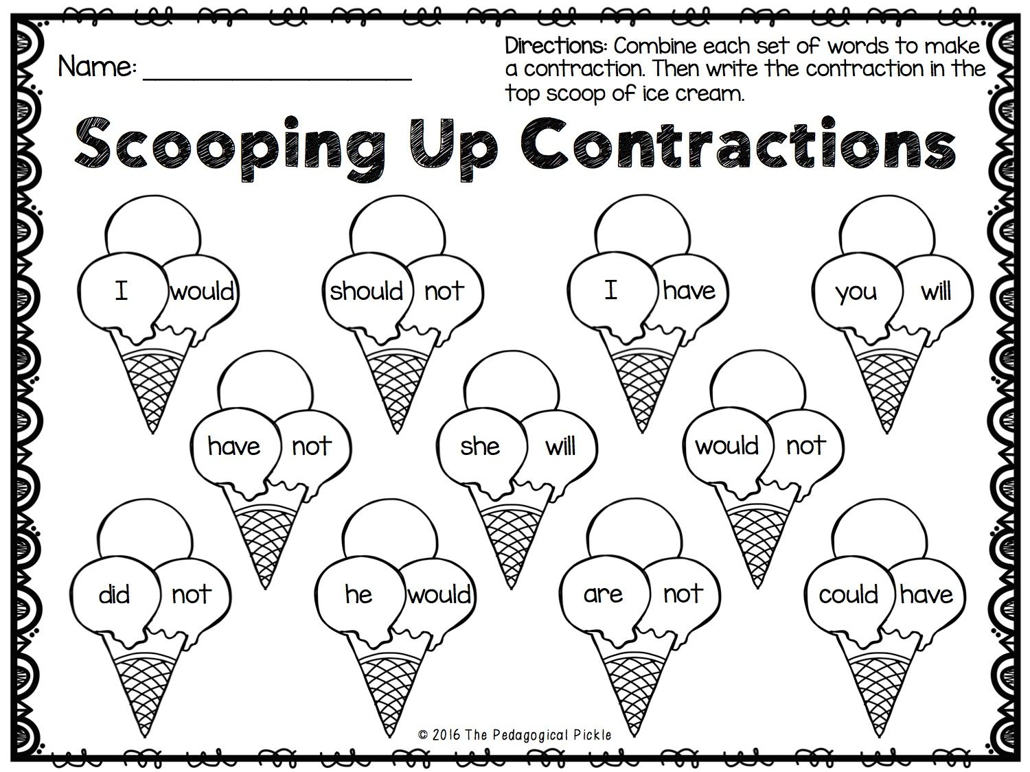 Worksheets Contractions Worksheet summer themed first grade literacy packet worksheets school super cute contractions worksheet
