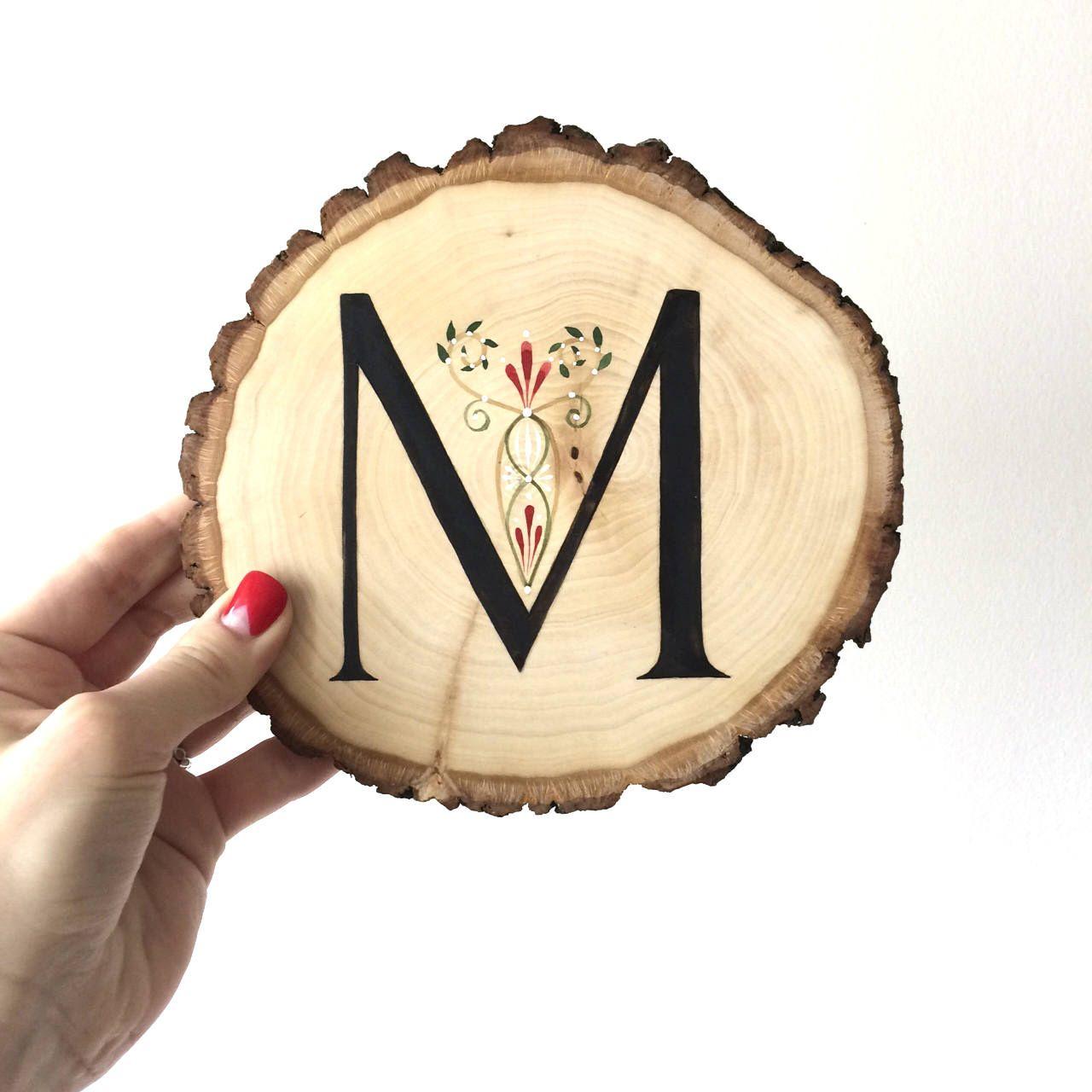 Monogram wood letters Monogram sign Wood slice sign Wood slice ...