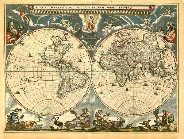 New World Map Canvas Print   Canvas Art by Gary Grayson World - new world map canvas picture